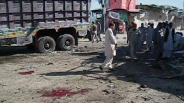 The site of the blast, with blood stains on the ground