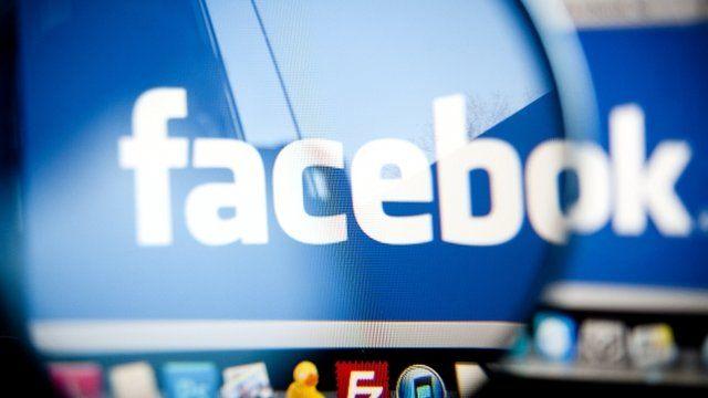 The Facebook logo on a computer screen