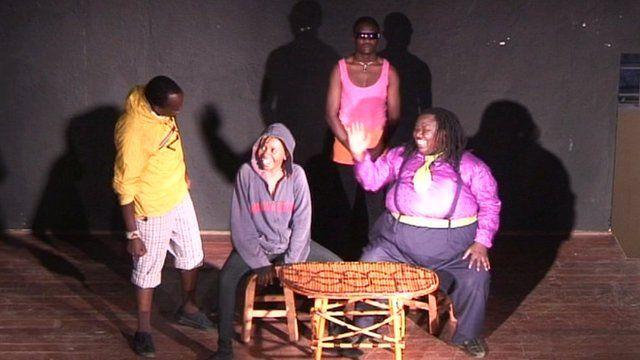 Kenyan actors performing at the Globe theatre