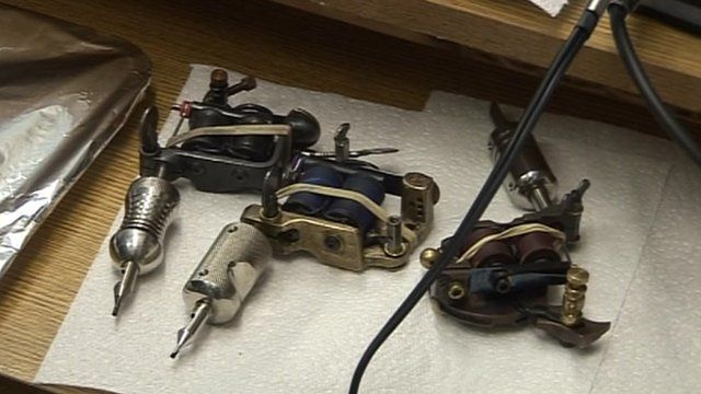 Tattooing equipment in legal parlour