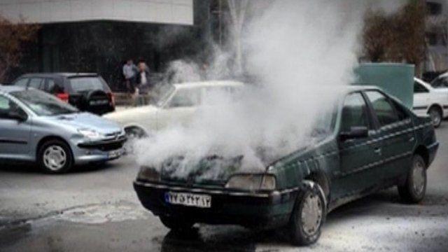 An overheated engine on an Iranian car