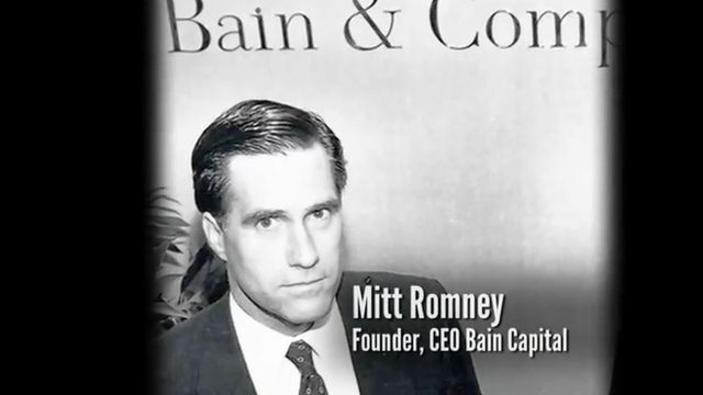 Screengrab of Mitt Romney from Obama campaign video