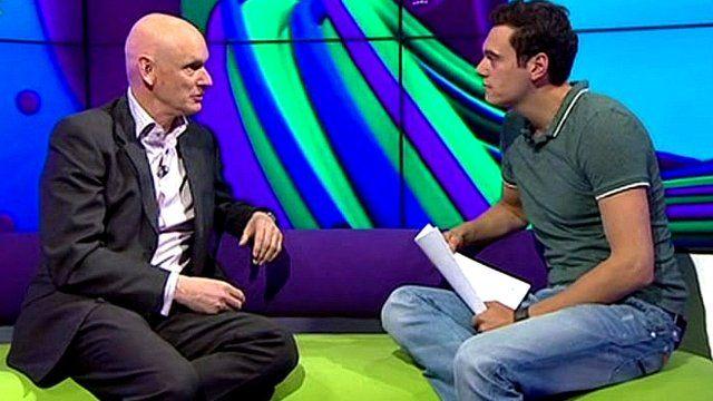 Duncan Goodhew chatting to Joe Tidy