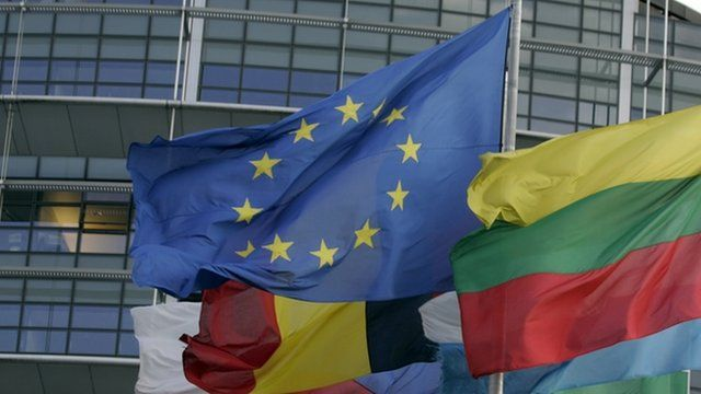 EU flag and national flags are hoisted in front of the European Parliament in Strasbourg
