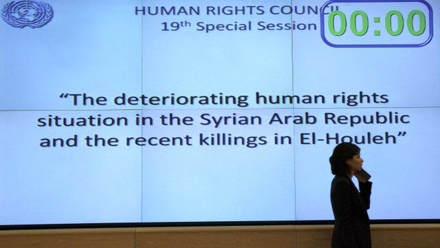 Delegate at the Human Rights Council special session on Syria at the United Nations European headquarters in Geneva