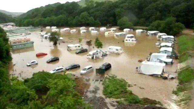Flooded caravan site
