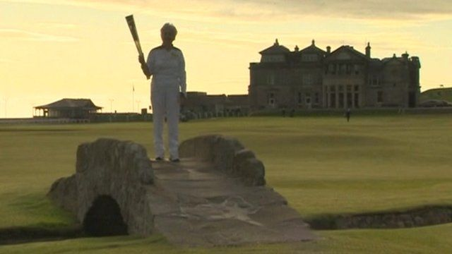 The Olympic flame on St Andrews' golf course