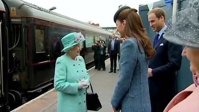 The Queen is greeted in Nottingham by the Duke and Duchess of Cambridge