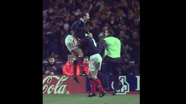 Scotland's Don Hutchison celebrates a goal with Craig Burley against England in the Euro 2000 play-off in Wembley