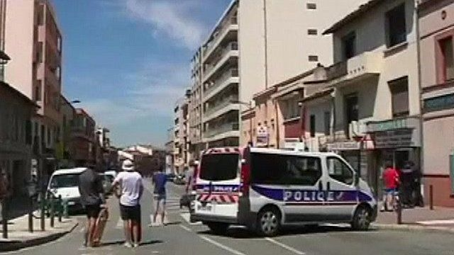 French police vehicle blocking street in France