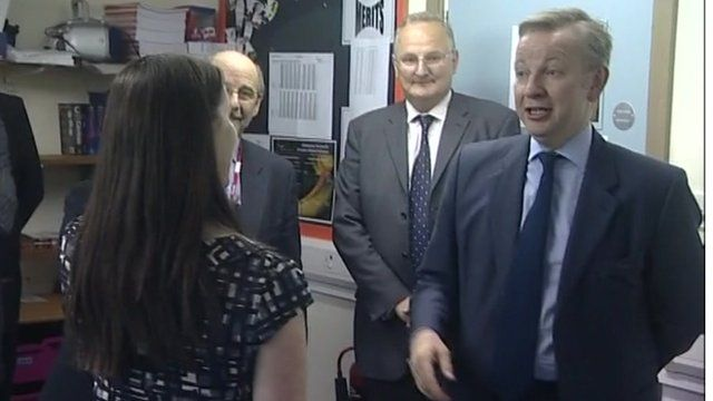 Mr Gove was visiting the Ormiston Victory Academy
