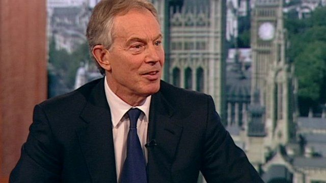 Former Prime Minister Tony Blair on the Andrew Marr show