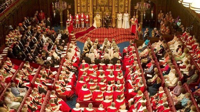 Queen Elizabeth II opens Parliament speaking in the chamber of The House of Lords