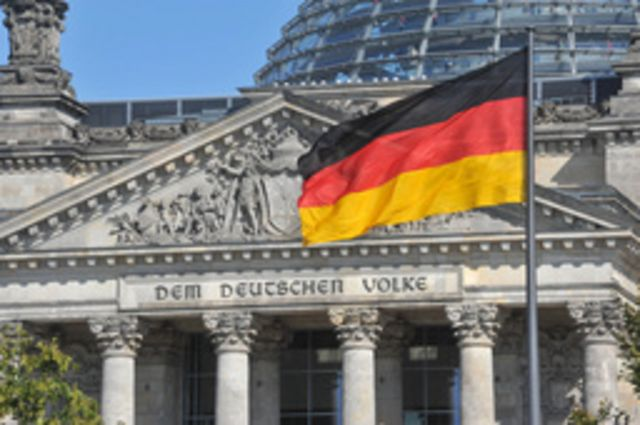 German flag in front of the Reichstag