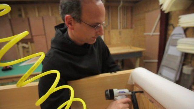 Monk making a coffin