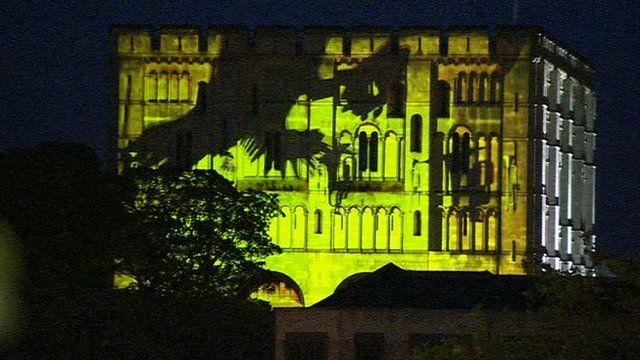 Torch Relay light show Norwich Castle