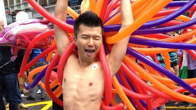 Man at London's gay World Pride event