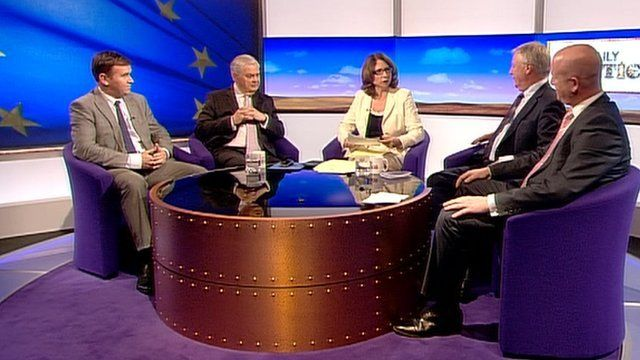 George Eustice, Lord Lamont, Jo Coburn, Lord Monks and Paul Nuttall