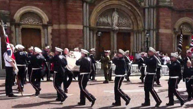 Loyalist band outside church
