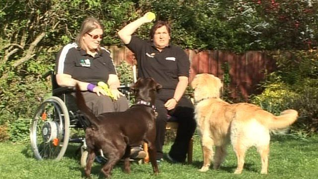 Wendy Morrell (l) and Karen Ruddlesden, with Coco (l) and Udo