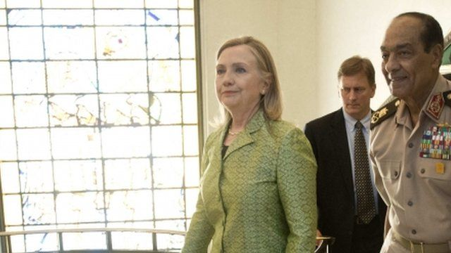 US Secretary of State Hillary Clinton and Field Marshal Mohamad Hussein Tantawi