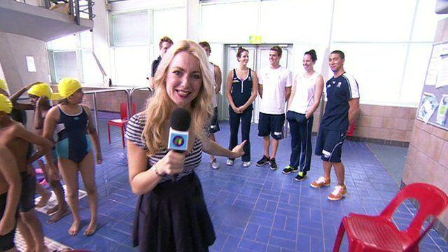 Hayley meets Australia's Olympic swim team