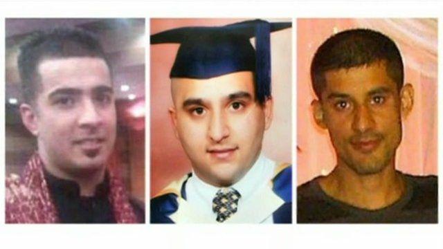 Victims Haroon Jahan, Shazad Ali and Abdul Musavir