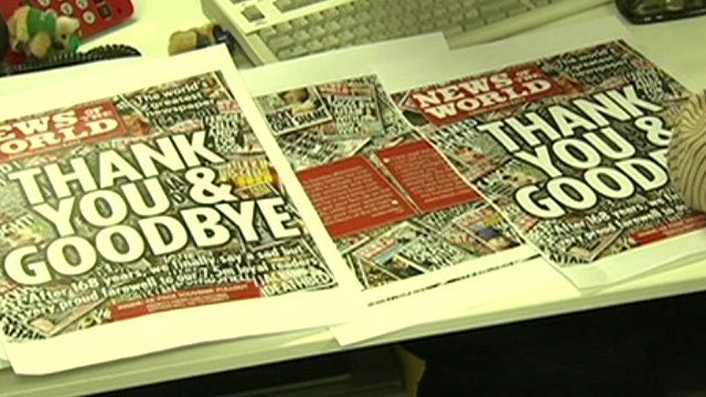 Front page of the final edition of the News of the World
