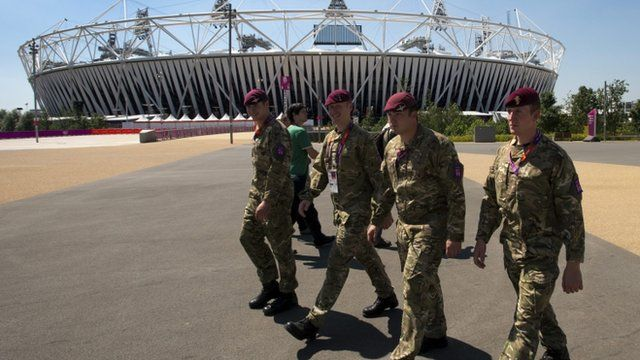 British soldiers walk past the Olympic stadium in London