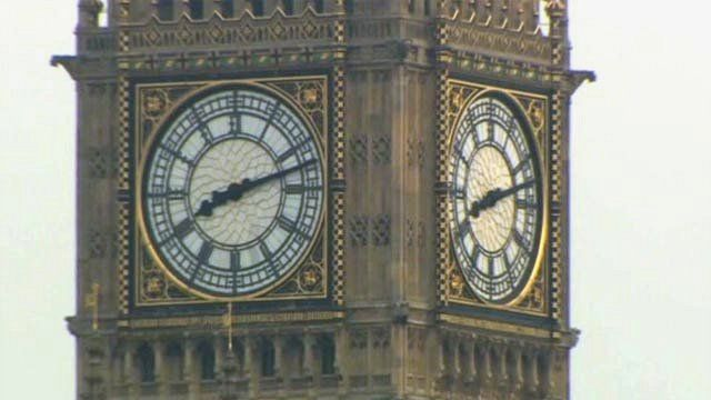 The Westminster clock showing 08:12