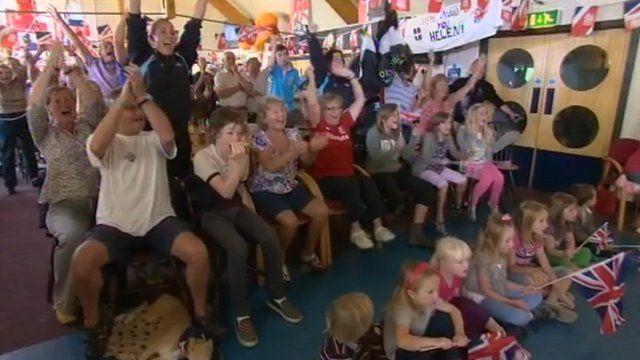 Helen Glover's supporters in Penzance