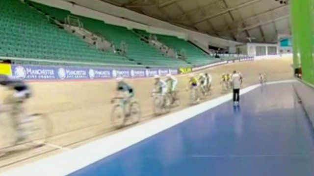 Cyclists training in the Manchester Velodrome