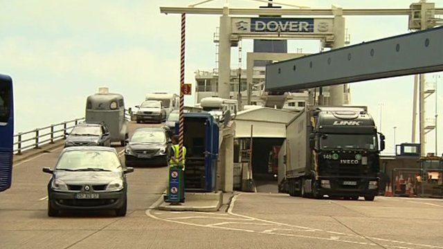 Cars and a lorry coming off a ferry