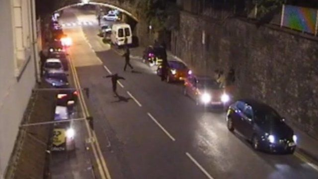CCTV footage shortly after the shooting