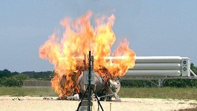 Spacecraft on fire