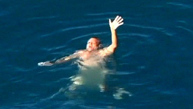 A man about to be rescued off the coast of Western Australia