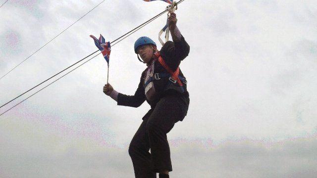 Boris Johnson dangles on a zip wire