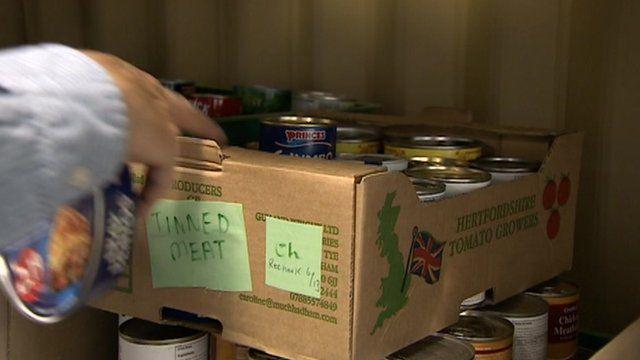 Food for distribution from Cromer food bank