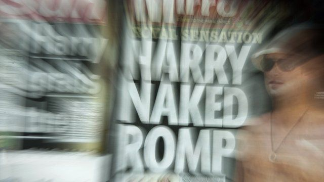 """The front-page headlines and stories regarding nude pictures of Britain""""s Prince Harry"""
