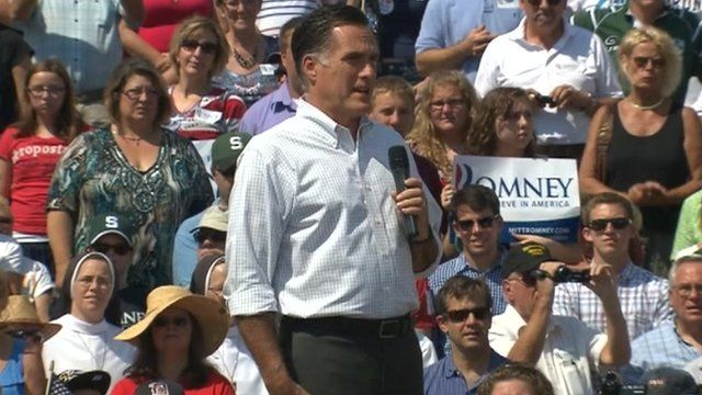 Mitt Romney at campaign rally in Michigan