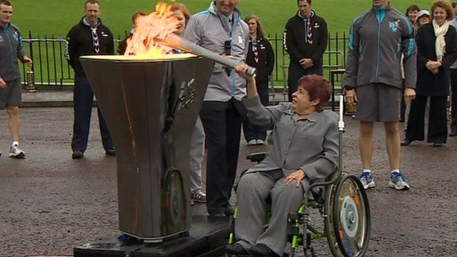 Angela Hendra lights cauldron