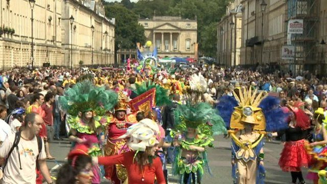 Carnival procession and Paralympic lantern relay in Bath