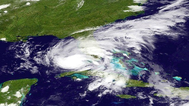 Tropical Storm Isaac moves toward the Florida coast - satellite image