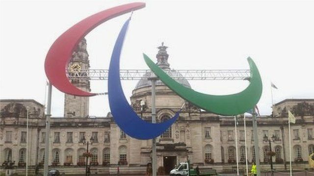 The Paralympic Agitos outside City Hall in Cardiff