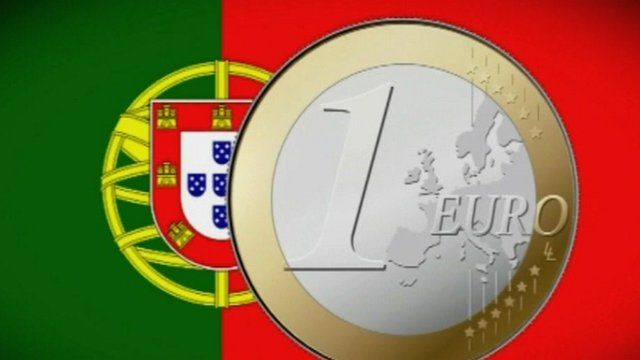 Portugal flag and euro coin graphic