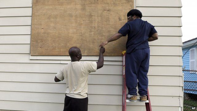 Widows boarded up in New Orleans