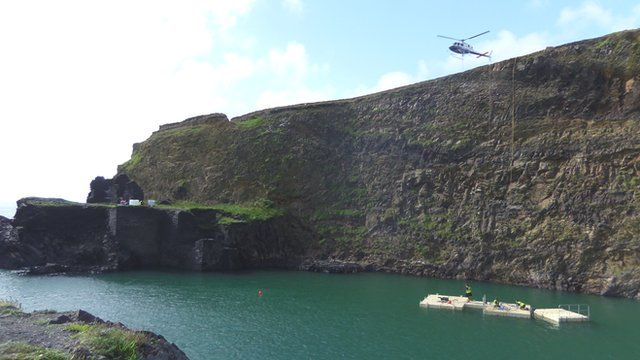Preparations being made for the Cliff Diving World Series at the Blue Lagoon in Abereiddy, Pembrokeshire