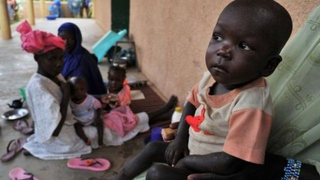 Malnourished children outside hospital in Gao, Mali