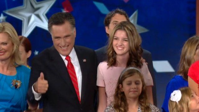 Mitt Romney with his family at the Republican convention