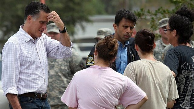 Mitt Romney talks with storm victims in Lafitte, Louisiana, on 31 August 2012